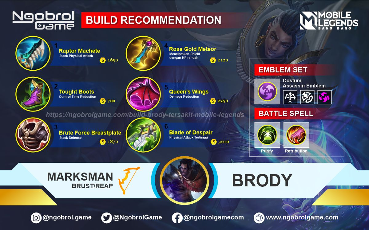 Build Brody Savage Mobile Legends