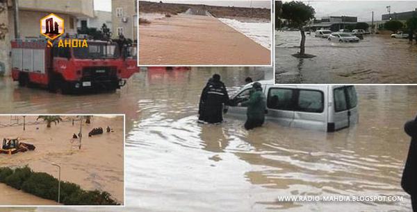 المهدية : فيضان وادي وتسرب المياه إلى المنازل !