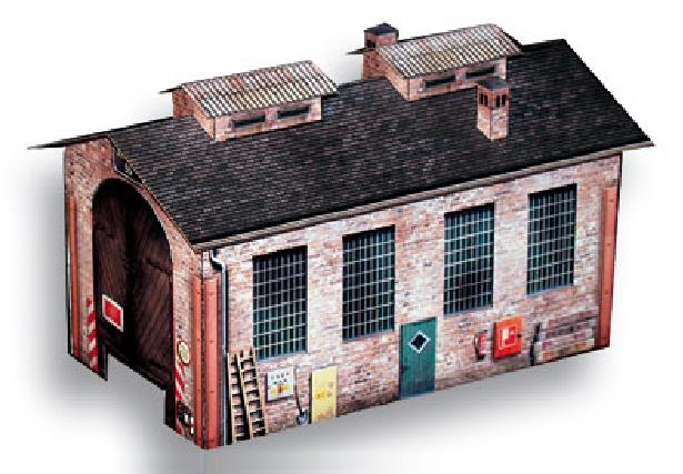 Papermau German Engine Shed Paper Model In Ho Scale By