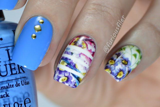 striped water decals studs floral summer spring nails