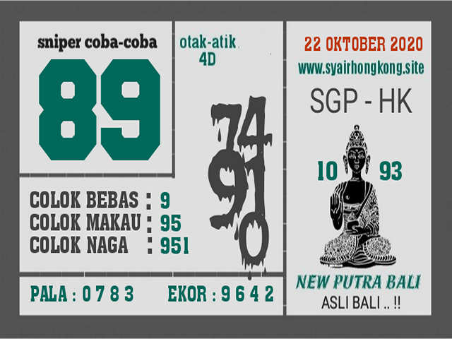 Kode syair Singapore Kamis 22 Oktober 2020 223