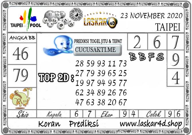 Prediksi Togel TAIPEI LASKAR4D 23 NOVEMBER 2020