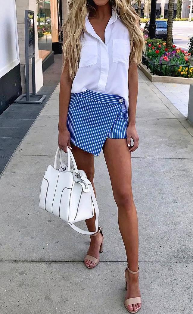 how to style a white shirt : bag + striped mini skirt + beige heels