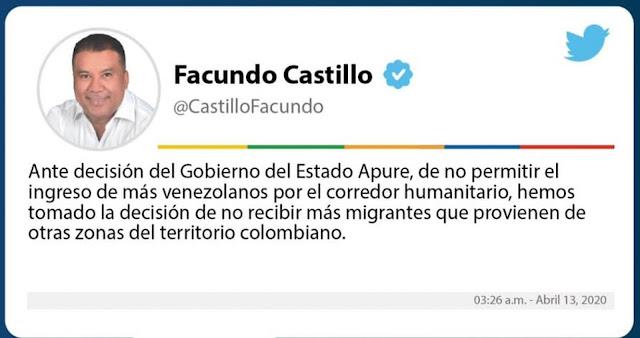 FRONTERA: Gobernador Facundo Castillo: No se permitirá la entrada de más venezolanos al Departamento de Arauca. (POLÉMICA).