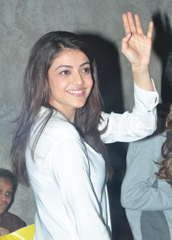 Kollywood Actress Kajal Agarwal Long hair Smiling In White Shirt At Charity Event
