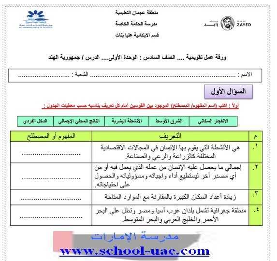 أوراق عمل اجتماعيات للصف السادس الفصل الدراسي الثاني 2019 - موقع مدرسة الامارات