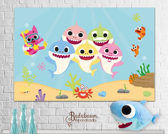 painel, arte digital, painel baby shark, para imprimir, banner, festa infantil, arte personalizada