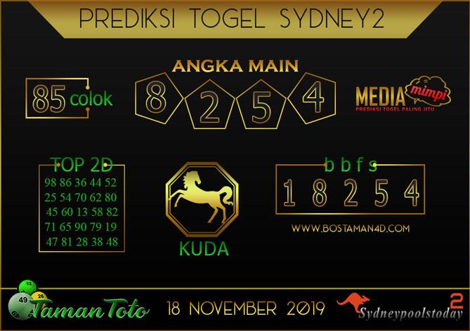 Prediksi Togel SYDNEY 2 TAMAN TOTO 18 NOVEMBER 2019