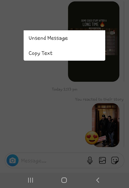 Unsend quick reactions on Instagram story