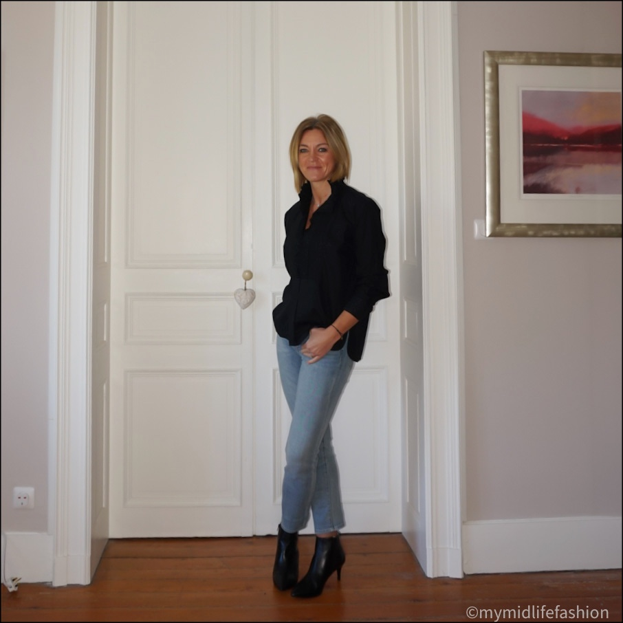 my midlife fashion, sole bliss Brooke leather ankle boots, Isabel Marant Etoile ruffle blouse, Ralph Lauren straight legged cropped jeans
