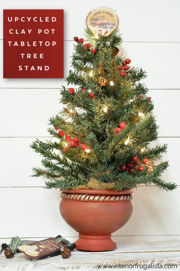 Upcycled Clay Pot Tabletop Tree Stand