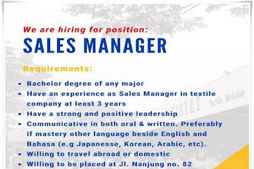 Lowongan Kerja Sales Manager Gistex