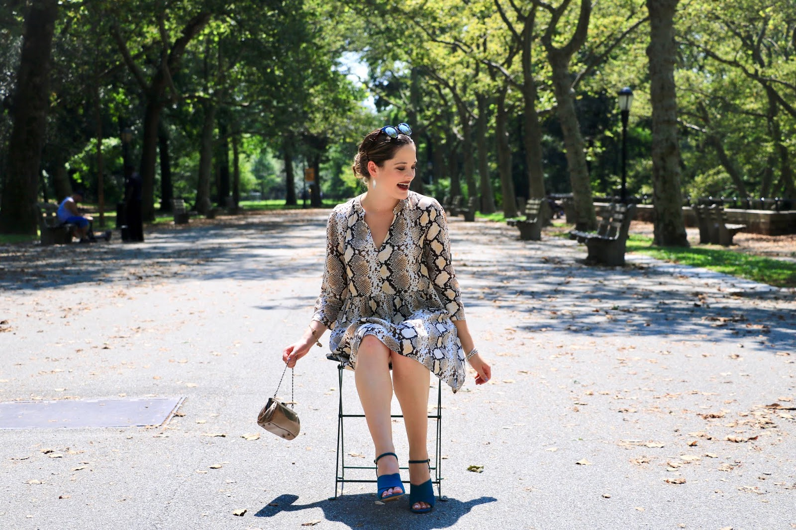 Nyc fashion blogger Kathleen Harper wearing an animal print outfit in fall 2019.