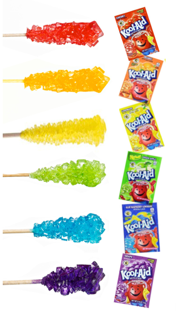 Make your own rock candy using kool-aid!  My kids loved this edible science experiment! #rockcandy #rockcandyrecipe #koolaidrockcandy #rockcandyexperiment #rockcandyeasy #koolaidrecipes #koolaidrockcandyrecipe #scienceexperimentskids #scienceforkids #growingajeweledrose