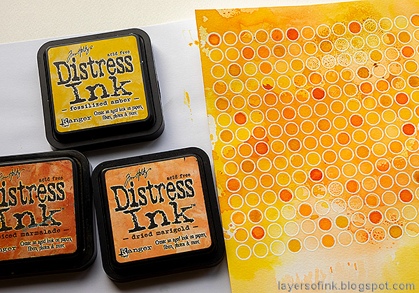 Layers of ink - Autumn Blooms Card Tutorial by Anna-Karin Evaldsson. Watercolor stamping.