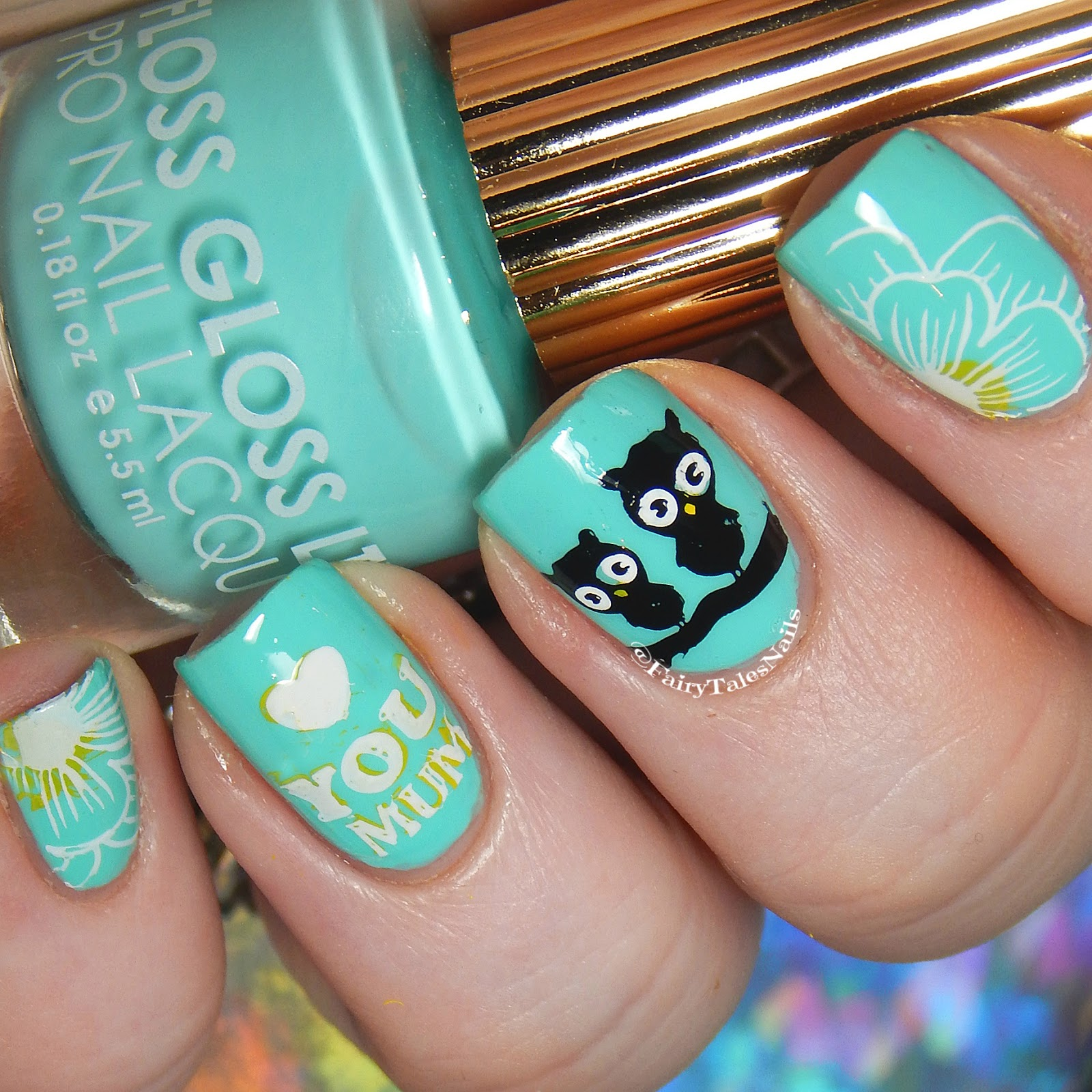 Owl Mom Nails | Mother's Day Nail Designs