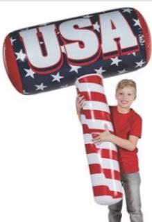 Child holds inflatable USA gavel