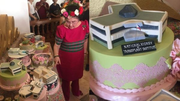 Imelda Marcos' birthday cakes feature infrastructures built during Marcos regime