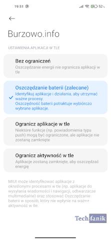 Ustawienia aplikacji w tle