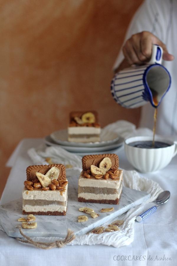 Mini tartas mousse de cacahuete y plátano. Sin horno. Cookcakes de Ainhoa