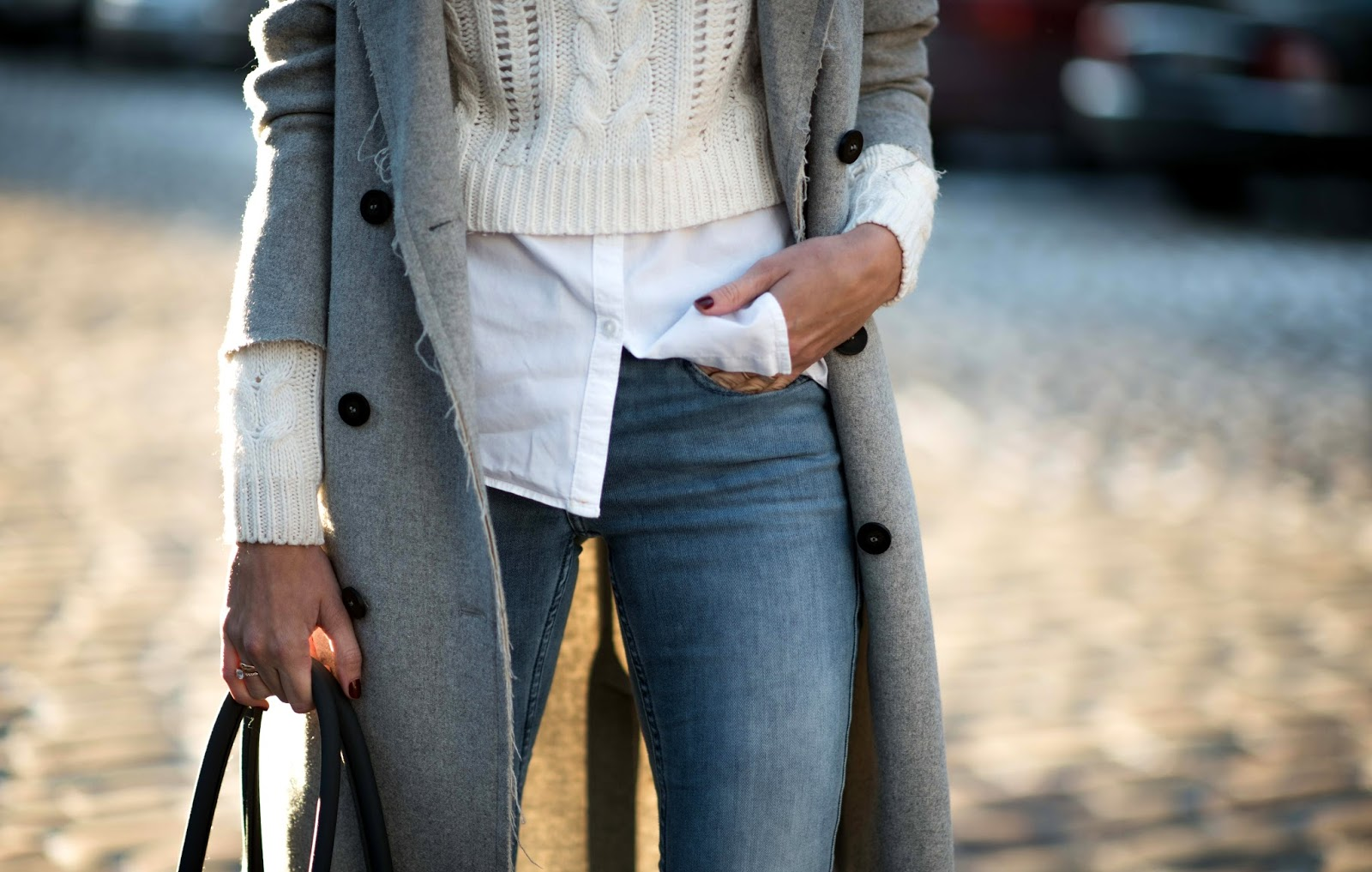 grey coat winter minimalist outfit