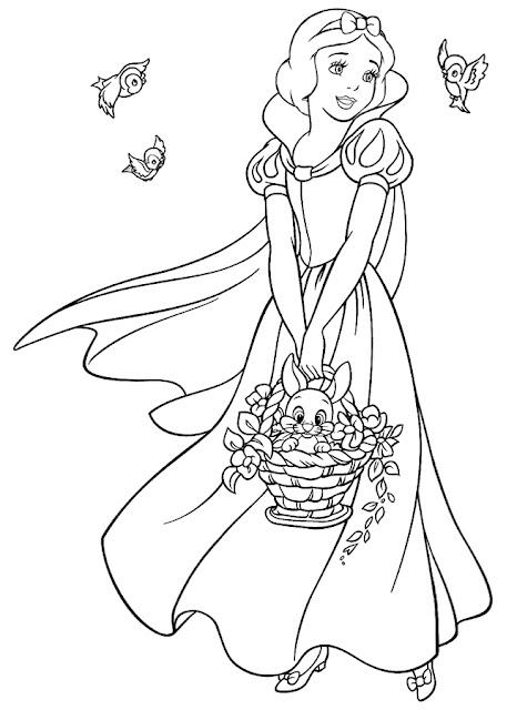 imágenes para colorear blanca Nieves con pajaritos en el bosque