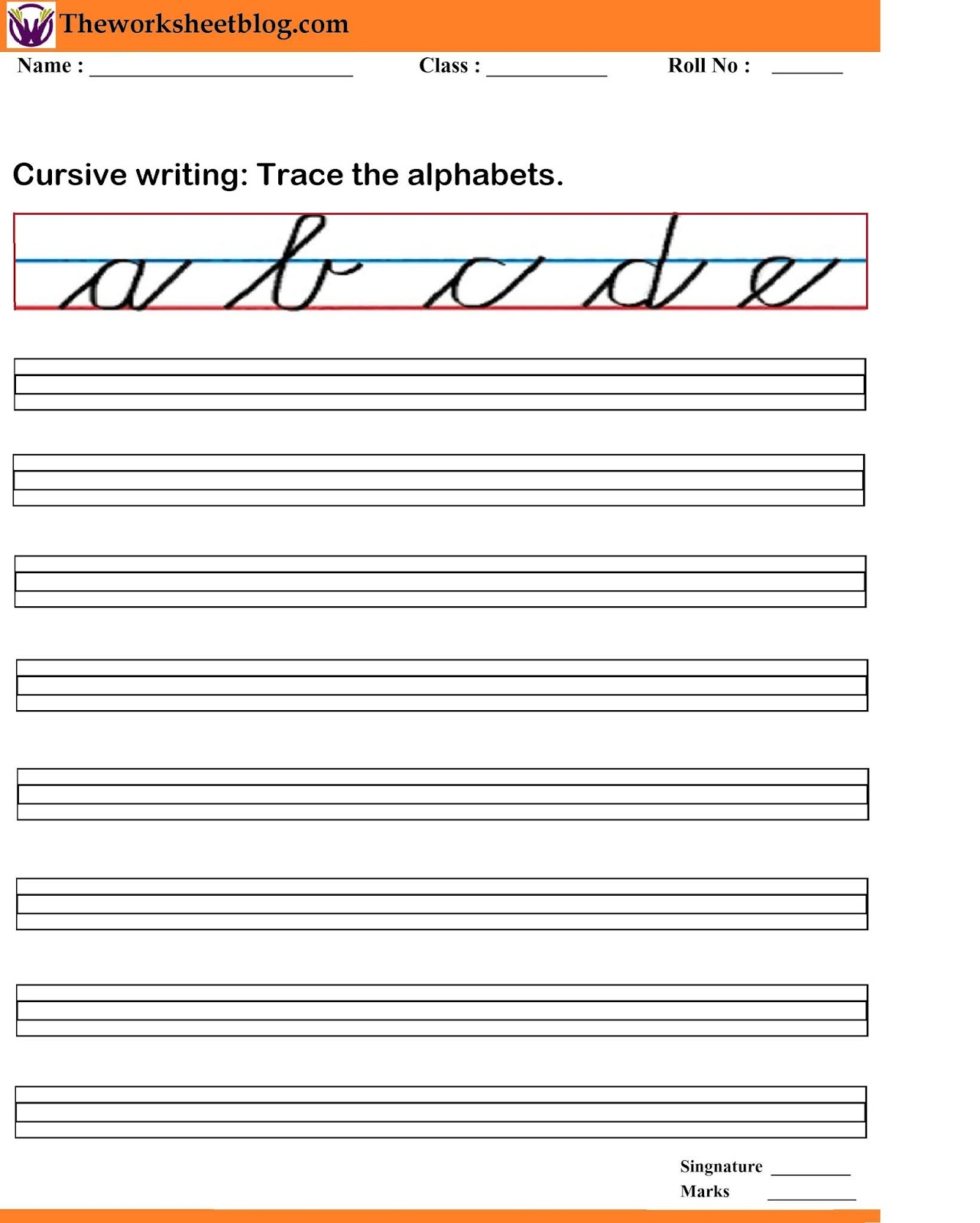 Cursive Writing Worksheets A Z