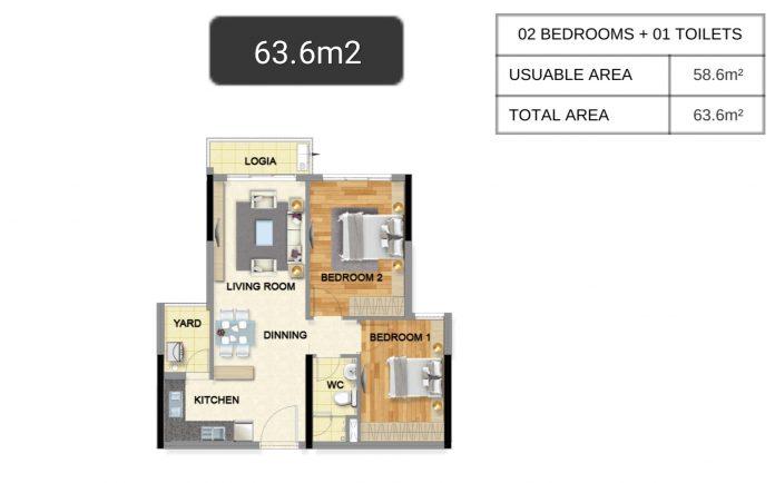 Bán căn hộ Emerald 63 m², tầng cao, 2 phòng ngủ, giá 2,65 tỷ