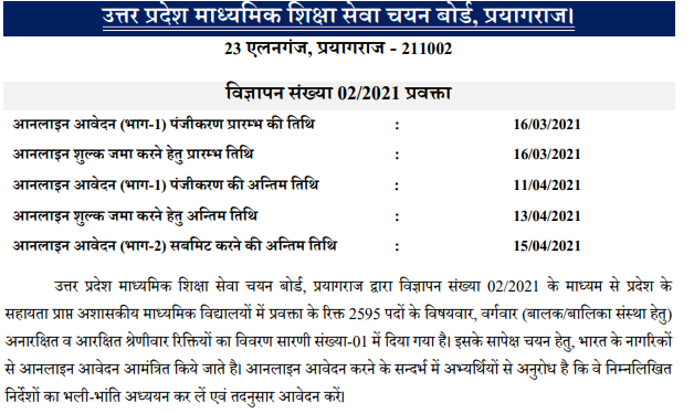 UP TGT PGT Recruitment 2021 Notification | Eligibility | Exam Pattern | Selection Process | Syllabus