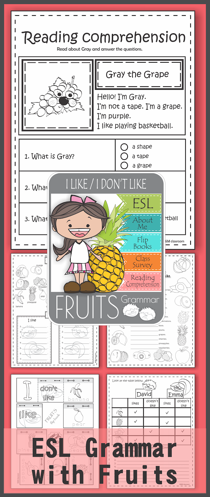 ESL Grammar I Like I Don't Like Fruits Printable Worksheets
