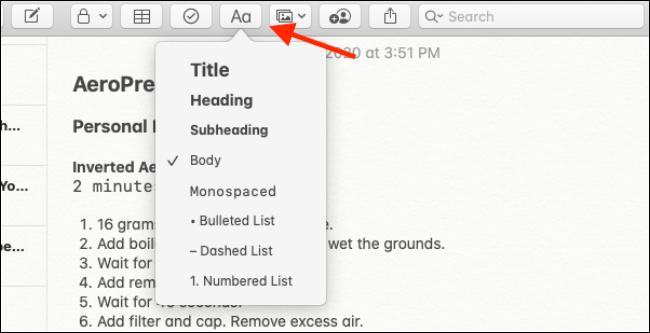 خيارات التنسيق في تطبيق Notes لنظام التشغيل Mac