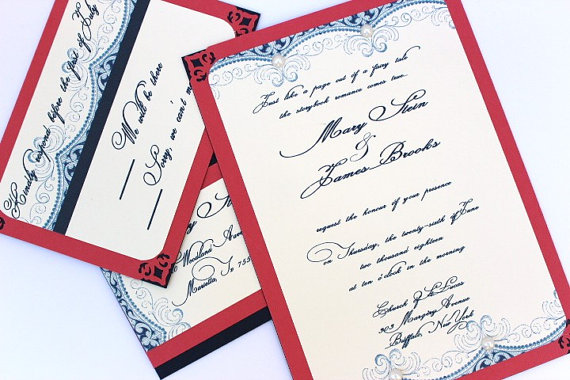 Blue And Coral Wedding Invitations: Unxia: Wedding Invitations Navy Blue Coral Cream Vintage