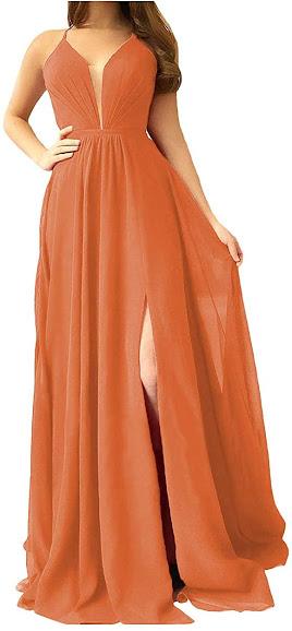 Cheap Orange Chiffon Bridesmaid Dresses