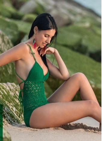 Free pattern Ru\EN. Зеленый коктейльный купальник крючком. Crochet green cocktail swimsuit