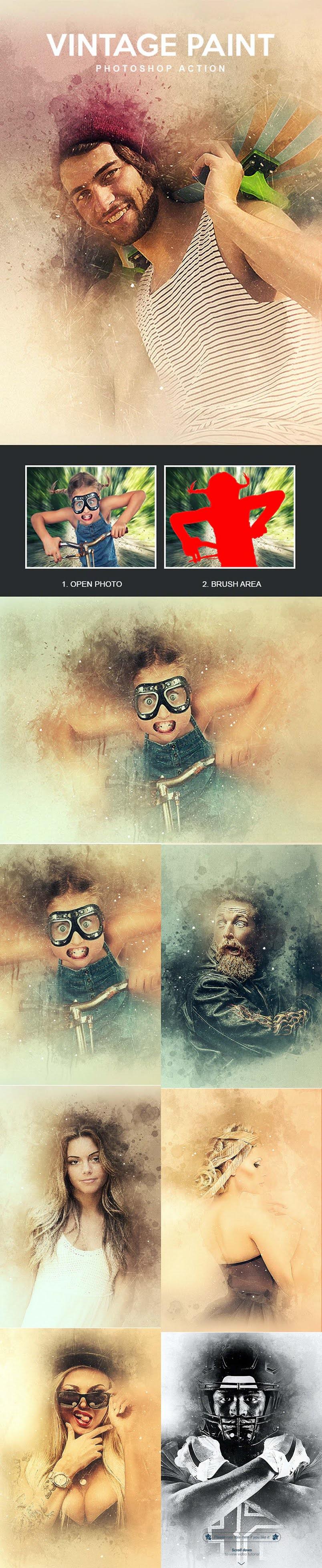 Vintage Paint Photoshop Action