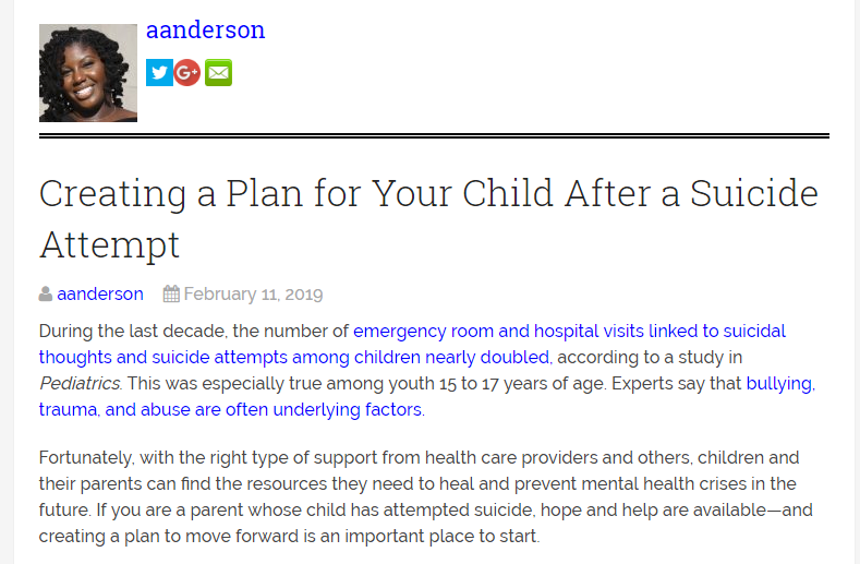 Trauma From Parents Youth Linked To >> Markham's Behavioral Health: Care plan for child after a suicide attempt