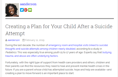 Care plan for child after a suicide attempt
