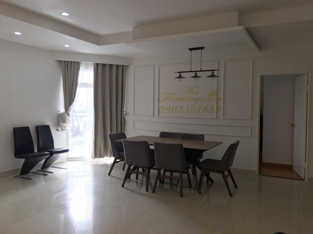 Căn hộ The Flemington cho thuê 117m2 nội thất đẹp tầng 9 block B - bàn ăn phòng khách