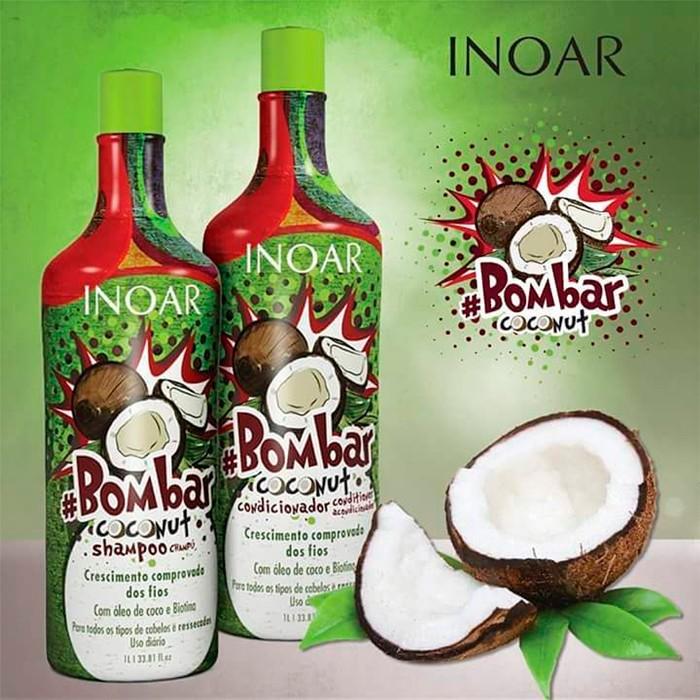 37f80d851 Descrição do Produto - Kit tamanho salão para todos os tipos de cabelo.  Inoar #Bombar Coconut Litro Kit tem ativos para nutrição e proteção que  evitam a ...
