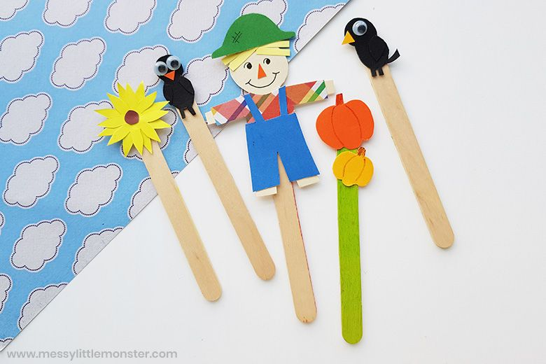 scarecrow stick puppets autumn craft for kids