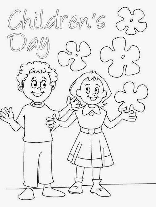 ภาพระบายสี วันเด็ก Happy Childrens Day Coloring Pages