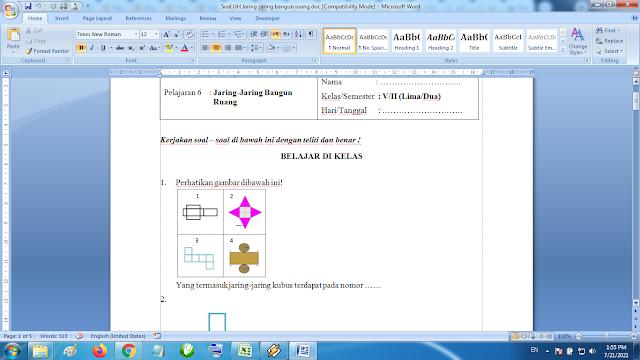 Download soal ulangan harian matematika kelas 5 semester 2 jaring jaring bangun ruang kurikulum k13 revisi terbaru