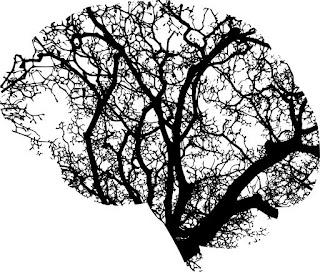 Ambientalismo e neurodiversidade, duas causas com muito mais afinidade do que as pessoas acreditam. Descrição da imagem #PraCegoVer: Uma silhueta de cérebro com galhos de árvores no interior. Imagem em preto e branco. Fim da descrição.