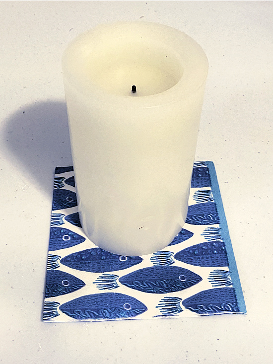 battery candle and napkin
