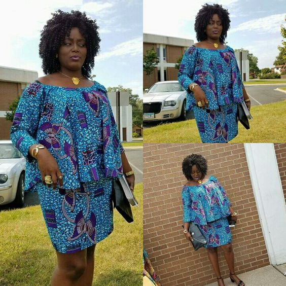 Trendsetting Ankara Flare Blouse With Fitted Straight