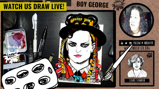 Drawing Boy George From Culture Club - 80s Musician! - Come Hang out | Livestream