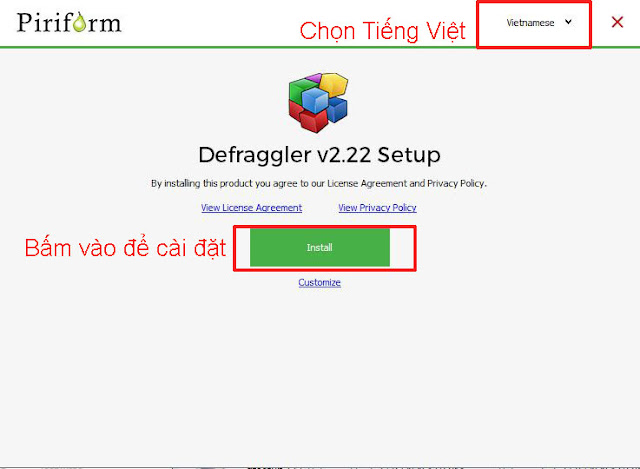 cài đặt Defraggler bằng cách chạy file dfsetup222.exe