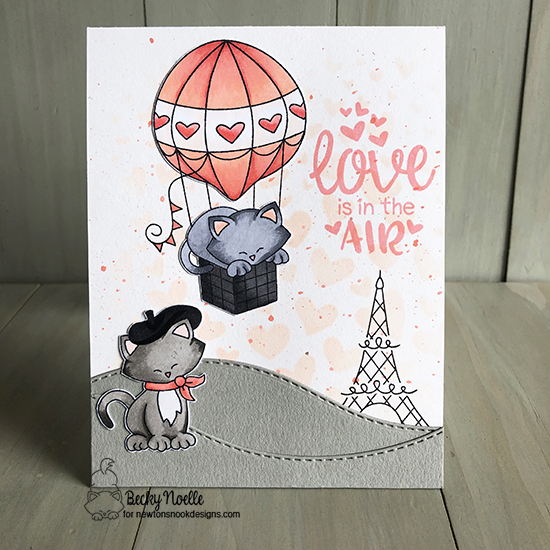 Love is in the air by Becky features Newton Dreams of Paris, Uplifting Wishes, Tumbling Hearts, and Land Borders by Newton's Nook Designs; #newtonsnook