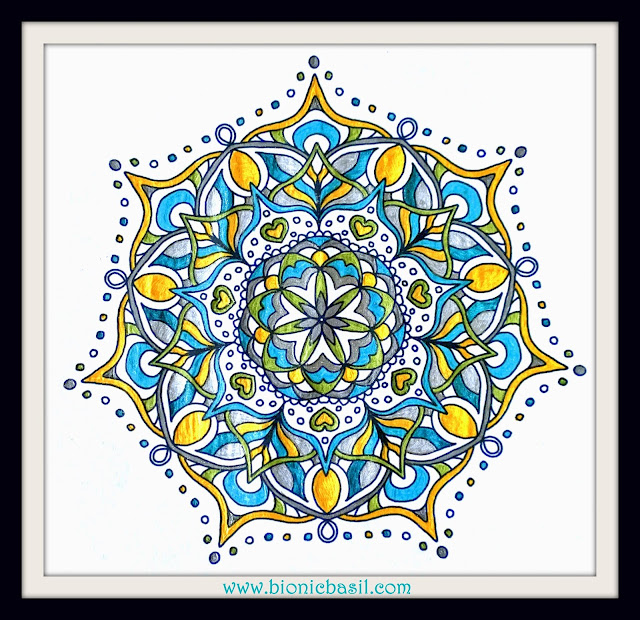 Mandalas on Monday ©BionicBasil® Colouring With Cats Mandala #108 coloured by Cathrine Garnell