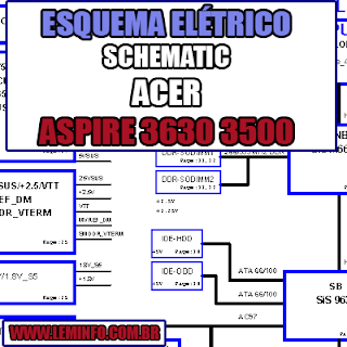 Esquema Elétrico Manual de Serviço Notebook Laptop Placa Mãe Acer Aspire 3630 3500 1400 Schematic Service Manual Diagram Laptop Motherboard Acer Aspire 3630 3500 1400
